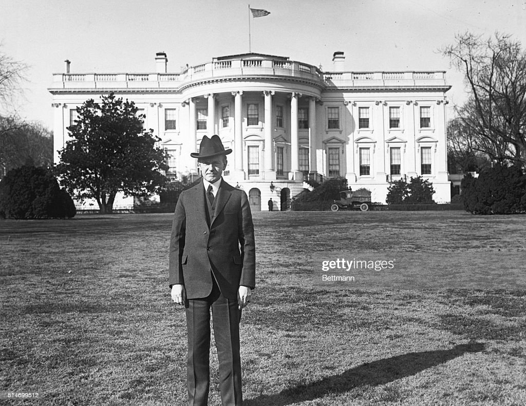 Calvin Coolidge Standing On South Lawn : News Photo