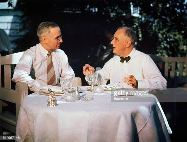 Their first meeting since the Democratic Convention Senator Harry S Truman of Missouri and Democratic Vice Presidential candidate is shown having...