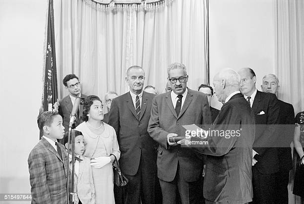 Washington DC Thurgood Marshall first Negro to become US Solicitor General sworn in by President Johnson Marshall introduces President Johnson to Mrs...
