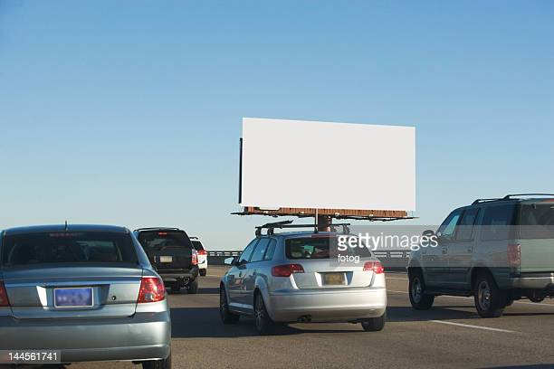 usa, washington dc, traffic and blank billboard - traffico foto e immagini stock