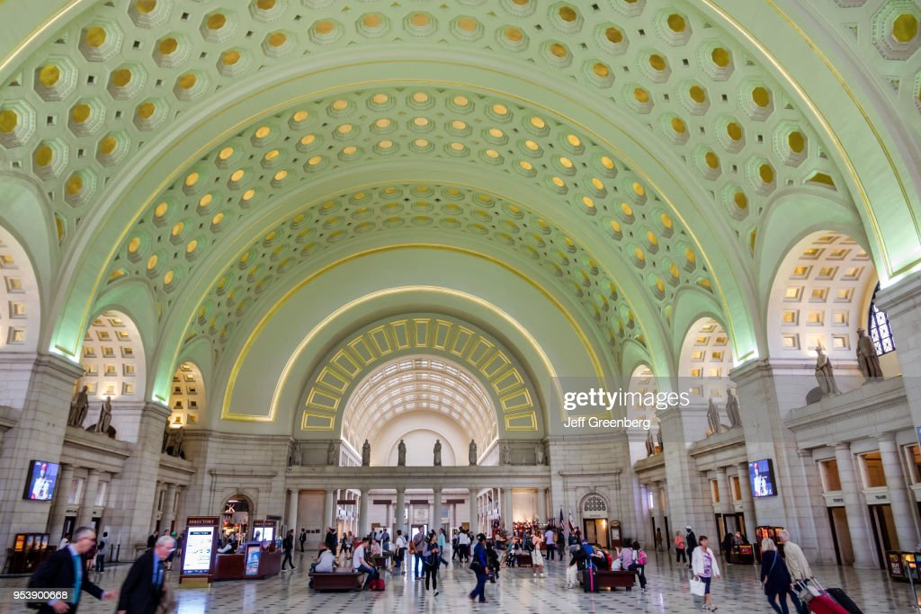 Washington DC, Union Station, Railroad Terminal, Main Hall With Arched  Ceiling.