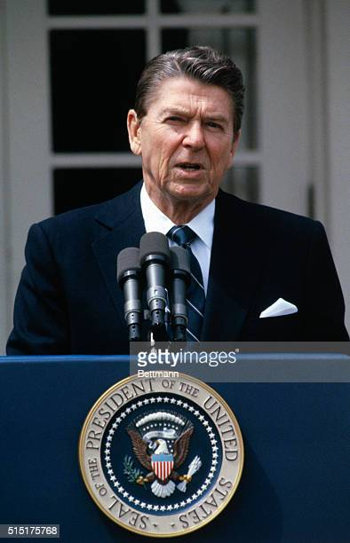 United States President Ronald Reagan says a few words on the situation in Beirut from the rose garden outside the White House