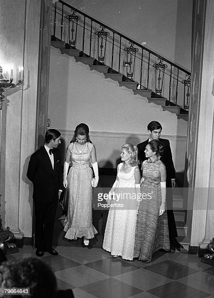 Prince Charles Princess Anne Tricia Nixon Julie Nixon and David Eisenhower at a White House dinner