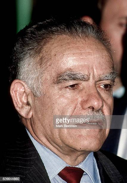 Washington DC USA 27th November 1983 Yitzhak Shamir Prime Minister of Israel answers reporters questions after his meeting with Sec Shultz Shamir an...
