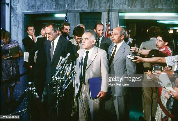 Washington, DC., USA 28th November 1983 Yitzhak Shamir Prime Minister of Israel answers reporters questions after a second meeting with Sec. Shultz....