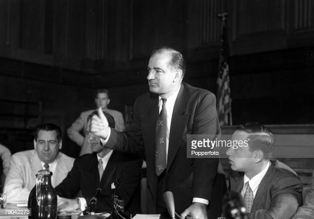 Washington DC, USA, 2nd December 1953, Senator Joseph McCarthy in cheerful mood during the House of Un-American Activities Committee Hearings