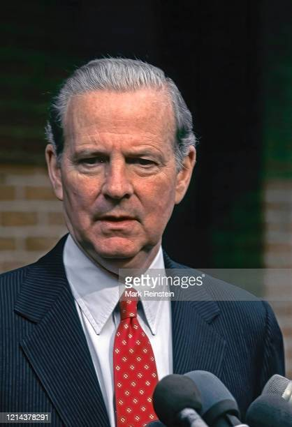 Washington, DC. USA, February 10, 1991 Secretary of State James Baker III talks with reporters outside the CBS studios after his appearance on the...