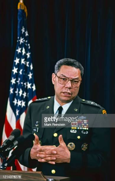 """Washington DC, USA, January 24, 1991""""nChairman of the Joint Chiefs of Staff General Colin Powell holds a news briefing in the Pentagon press room on..."""