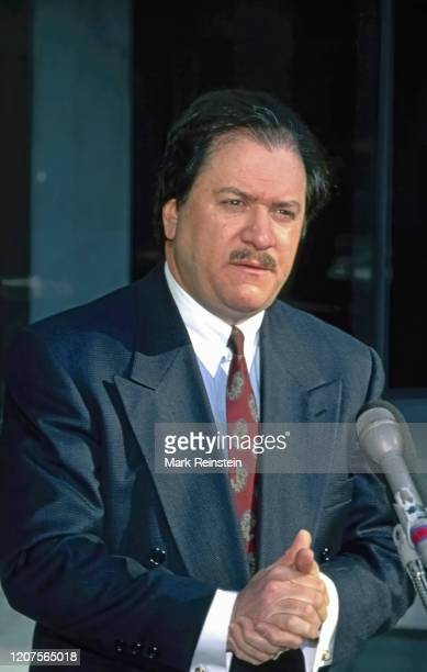 Washington DC USA June 1 1997 Former US attorney Joe diGenova talks to reporters outside the CNN studios after his appearance on the talk show Late...