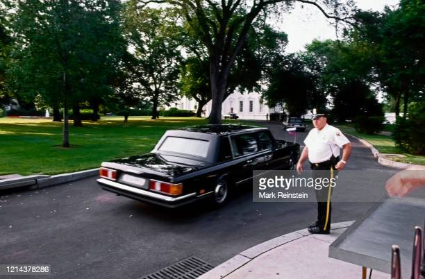 Washington DC USA June 17 1992 Official Limousine with Russian President Boris Yeltsin in the rear seat drives past a Uniformed Division Secret...