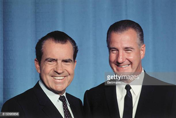 Washington, DC: Vice President Agnew, left, held a last-minute meeting with President Nixon at the White House, September 10, just before departing...
