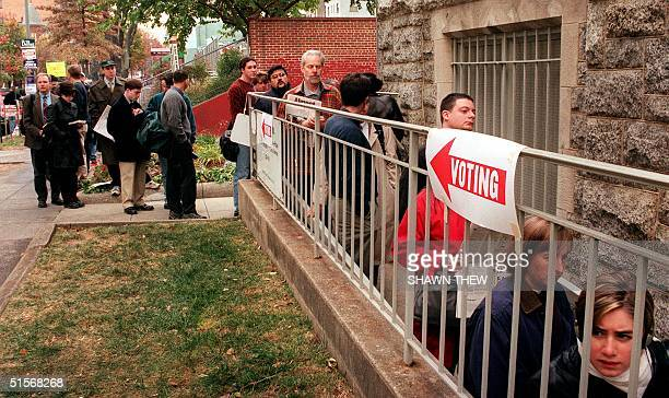 Washington DC voters at Foundry United Methodist Church formed a line that stretched for a city block which took over an hour at times to cast a vote...