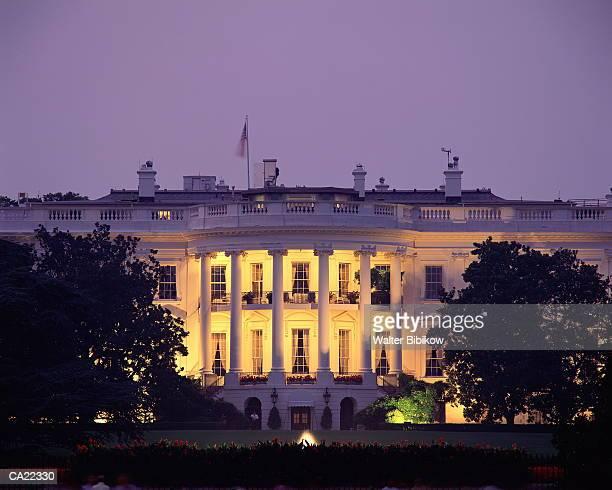 usa, washington dc, white house, exterior, night - white house stock pictures, royalty-free photos & images