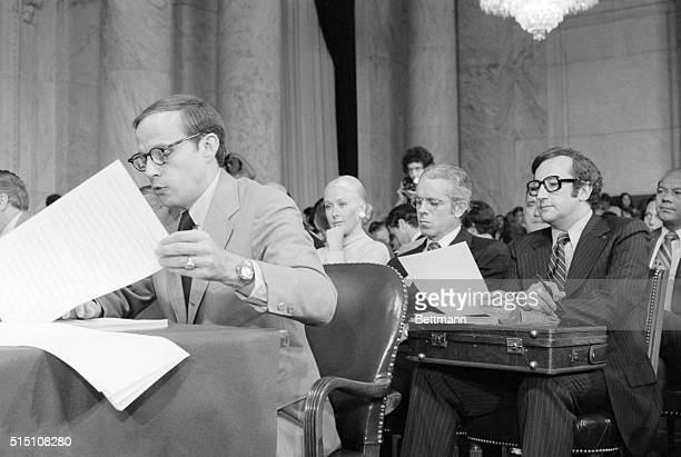 6/25/1973 Washington DC With his wife sitting behind him John W Dean III the fired White House Counsel begins his testimony before the Senate...
