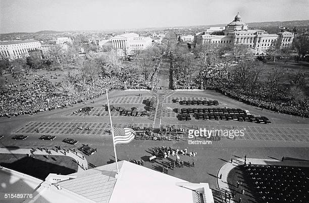 With the flag flying at half staff in honor of the late President Kennedy the caisson carrying his body arrives at the Capitol for ceremonies...