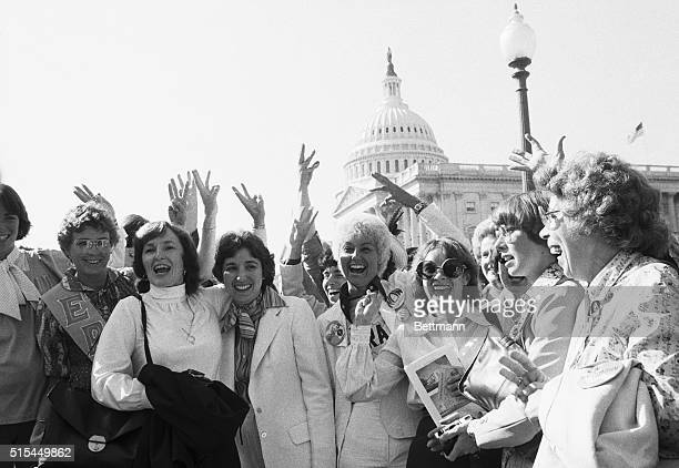 10/6/1978 Washington DC Women whoop it up outside the US Capitol 10/6 after the Senate gave new life to the Equal Rights Amendment voting to extend...