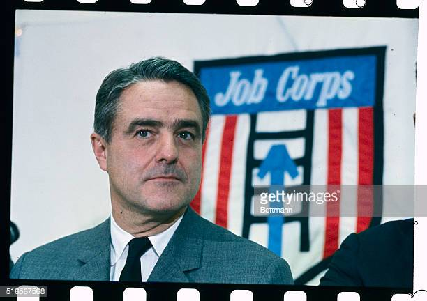 Washington DCCloseups of Sargent Shriver Director of the Job Corps at a Washington press conference