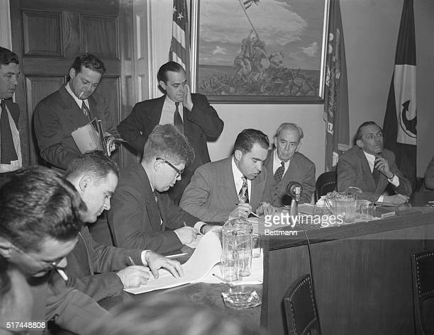 Washington DCHouse UnAmerican Activities Committee members are shown as they today made public sworn testimony in which Whittaker Chambers accused...