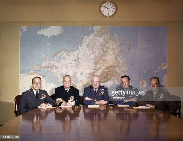 Members of Joint Chief of Staff meet for regular meeting in JCS Staff Conference room at Pentagon LR General Lyman L Lemnitzer Chief of Staff USA Adm...