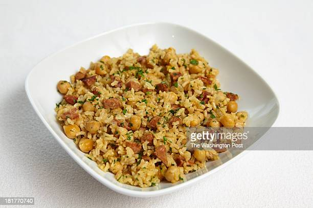 Brown Rice Pilaf with Chickpeas and Chorizo for Mindful Makeovers / Nourish no credit for dishware