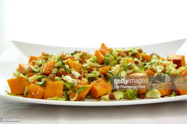 Roasted Butternut Squash with Pancetta and Shaved Brussels Sprouts for Mindful Makeovers / Nourish no credit for dishware