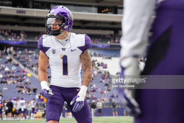 Washington defensive back Byron Murphy lines up for a drill before the University of Washington Spring Game at Husky Stadium on Saturday April 21...