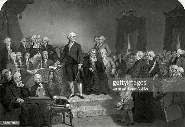 Washington delivering his inaugural address in the old city hall New York' George Washington delivering his inaugural address before members of the...
