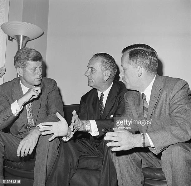 Democratic Presidential candidate Senator John F Kennedy left confers with running mate Senator Lyndon B Johnson center and Senator Henry M Jackson...