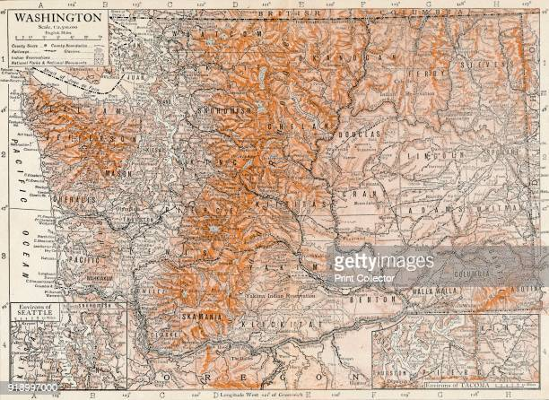Washington' Detailed and scaled map of Washington State United States with geographical features and place namesArtist Unknown