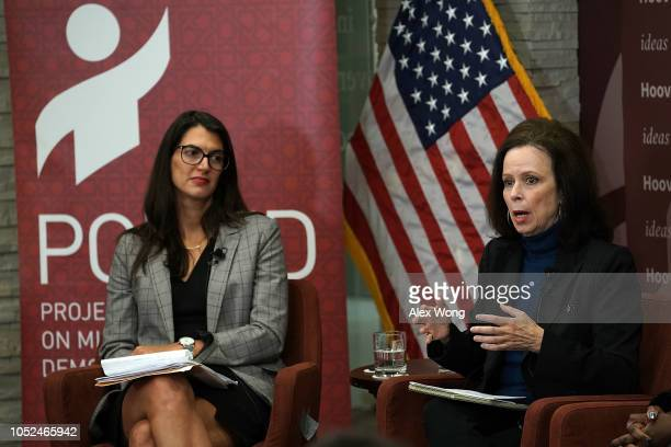 Washington director of Human Rights Watch Sarah Margon and contributing writer at the New Yorker Robin Wright participate in a discussion at the...