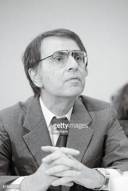 Dr Carl Sagan testifies before a joint House subcommittee hearing on the impact of a 'nuclear winter' Sagan criticized the Defense Department for...