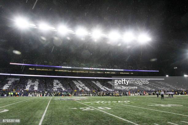 Washington fans held up white sheets of paper in the stands spelling out 'THANKS BOB' during the end of the first quarter to thank Washington...