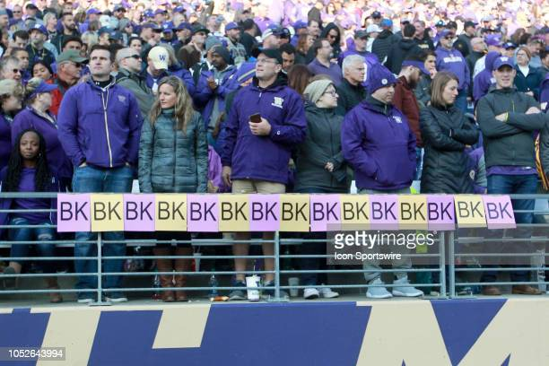 Washington fans placed paper BK signs along the railing for every tackle made by Ben BurrKirven during the game between the Washington Huskies and...
