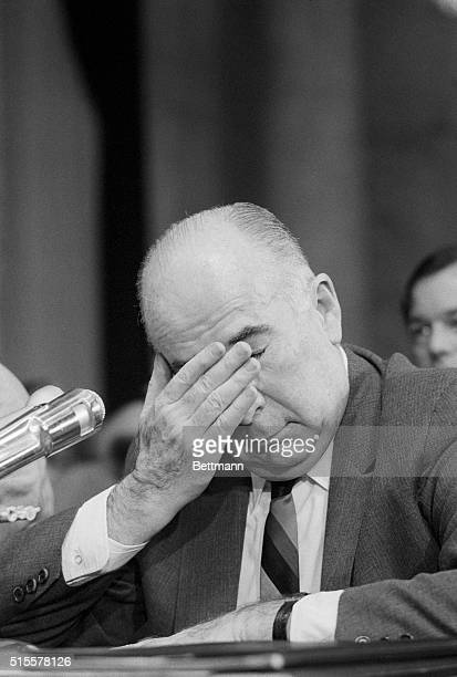 Washington: Former attorney general wipes his eyes during his second day of testimony before the Senate Watergate Committee 7/11. Mitchell said he...