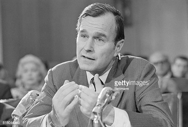 Former Texas Congressman George Bush pleads his case before the Senate Foreign Relations Committee which is considering his nomination to be US...