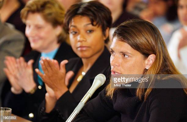 Washington Freedom soccer star Mia Hamm testifies before the Congressional Women's Caucus April 7 2003 on Capitol Hill in Washington DC Gold...