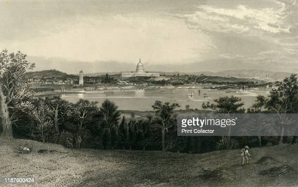 Washington from Arlington Heights', 1874. View across the Potomac to the Capitol Building, Washington DC, USA. 'The site chosen by the first Congress...