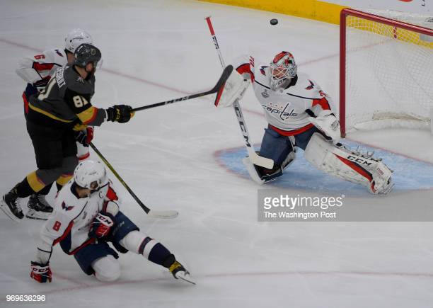 Washington goaltender Braden Holtby blocks a shot by Vegas center Jonathan Marchessault during the first period of the game between the Washington...