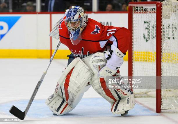 Washington goaltender Philipp Grubauer during Columbus Blue Jackets overtime defeat of the Washington Capitals 43 in game 1 of the NHL playoffs in...