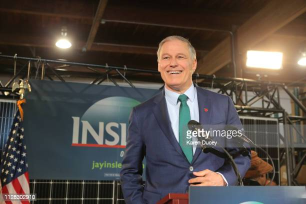 Washington Gov Jay Inslee announces his run for the 2020 Presidency at A R Solar on March 1 2019 in Seattle Washington Inslee has been governor since...