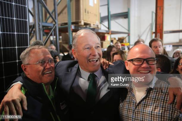 Washington Gov Jay Inslee with his brothers Frank Inslee and Todd Inslee shortly after he announced his run for the 2020 Presidency at A R Solar on...