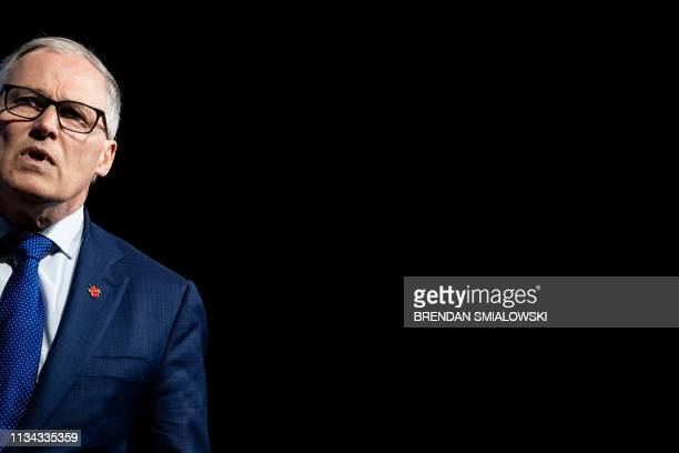 Washington Governor Jay Inslee a 2020 US Presidential hopeful speaks during the We The People Summit at the Warner Theatre April 1 in Washington DC