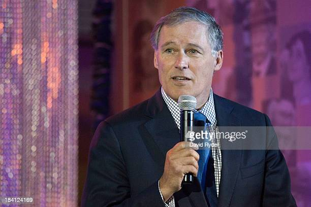 Washington Governor Jay Inslee addresses the crowd during a launch event for the Bezos Center for Innovation at the Museum of History and Industry on...