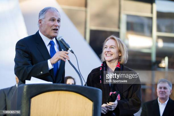 Washington Governor Jay Inslee introduces Seattle Mayor Jenny Durkan during the Seattle Center Arena groundbreaking ceremony on December 5, 2018 in...