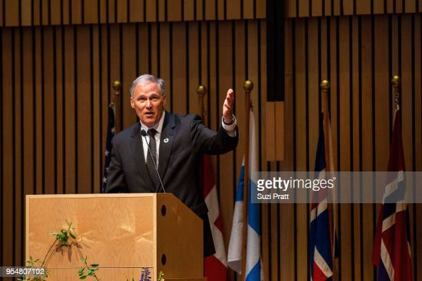 Washington Governor Jay Inslee speaks at the Nordic Museum on May 4 2018 in Seattle Washington