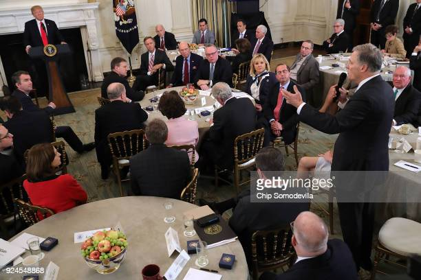 Washington Governor Jay Inslee speaks during a business session with state governors hosted by US President Donald Trump in the State Dining Room at...