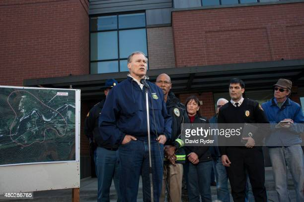 Washington Governor Jay Inslee speaks to the media in Arlington Washington on Sunday March 23 2014 A massive mudslide in Oso Washington killed at...
