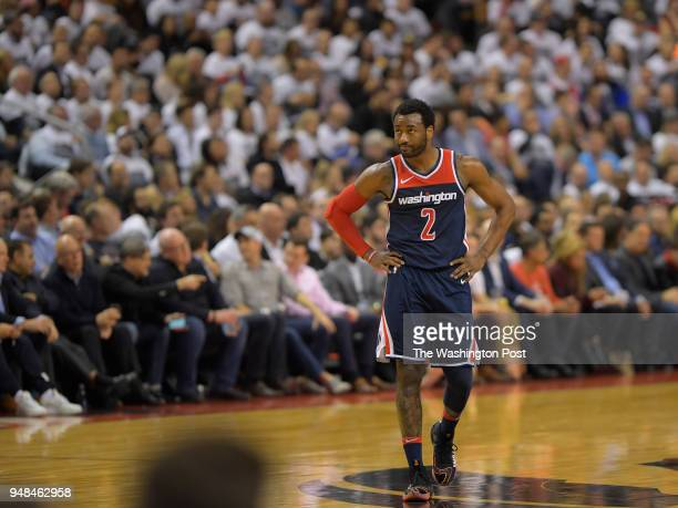 Washington guard John Wall during a lull in th action during Toronto Raptors defeat of the Washington Wizards 130 119 in game 2 of the NBA eastern...