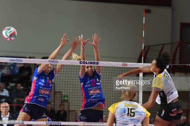 Washington Haleigh from team BV Millenium Brescia playing during volley match in Pala Igor Novara in Novara Italy