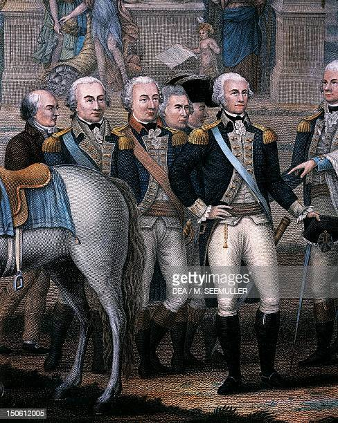 Washington Hamilton Rochambeau and General Lincoln detail from The British surrendering their arms to General George Washington after their defeat at...
